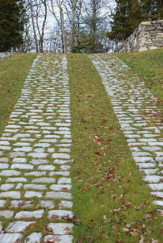 Cobblestone pavers - either in two strips with something planted between, or all across the driveway.