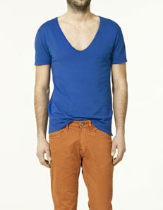 V necks aren't weird, and neither are orange pants. Zing!