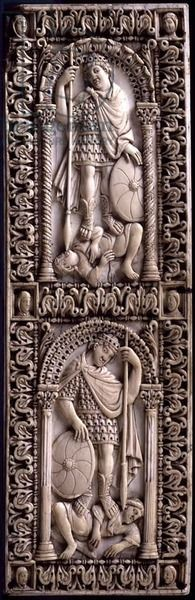 Carving of the Triumph of Virtue over Evil, from Ambronay Abbey, by the School of the Palace of Charlemagne, French, 9th century AD (ivory) florence bargello