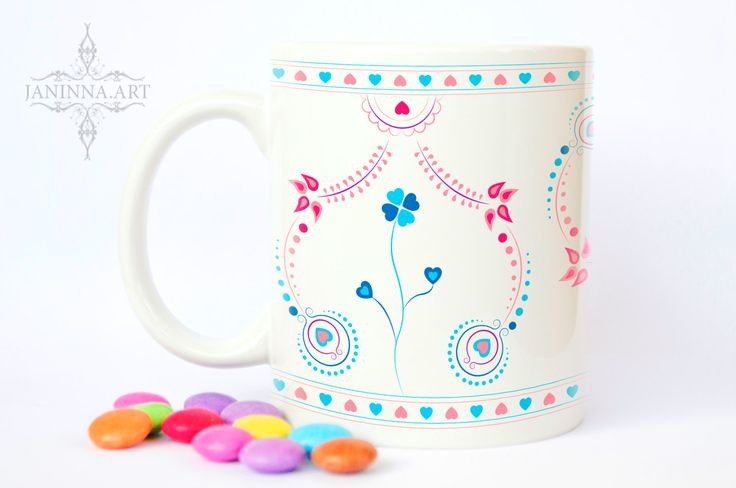"Ceramic mug ""FOLK - FLOWER"", 11 oz, folk design ornaments by janinnaART on Etsy"