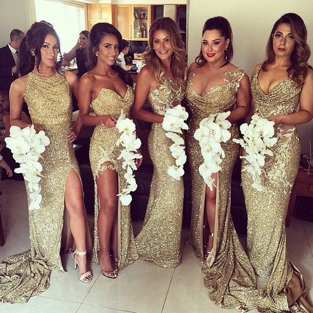 Gold glitter bridesmaids dresses and white orchids bouquets