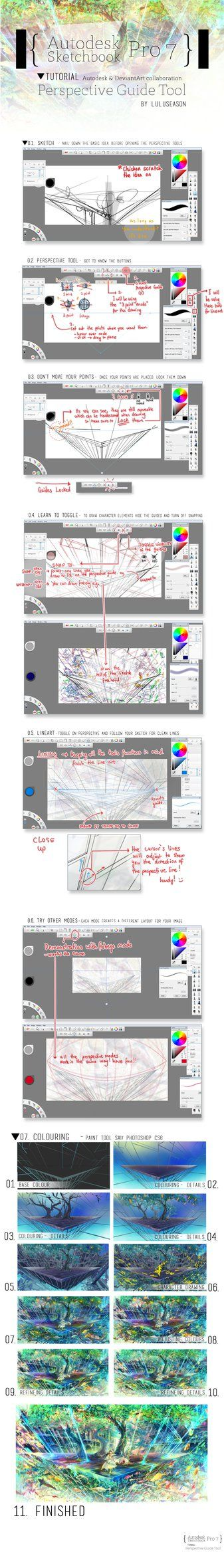 Made in collaboration with the Autodesk & DeviantArt tutorial project. This is the tutorial to explain the basics on how to use the Perspective Guide Tool on Autodesk Sketchbook Pro 7.0. It's s...