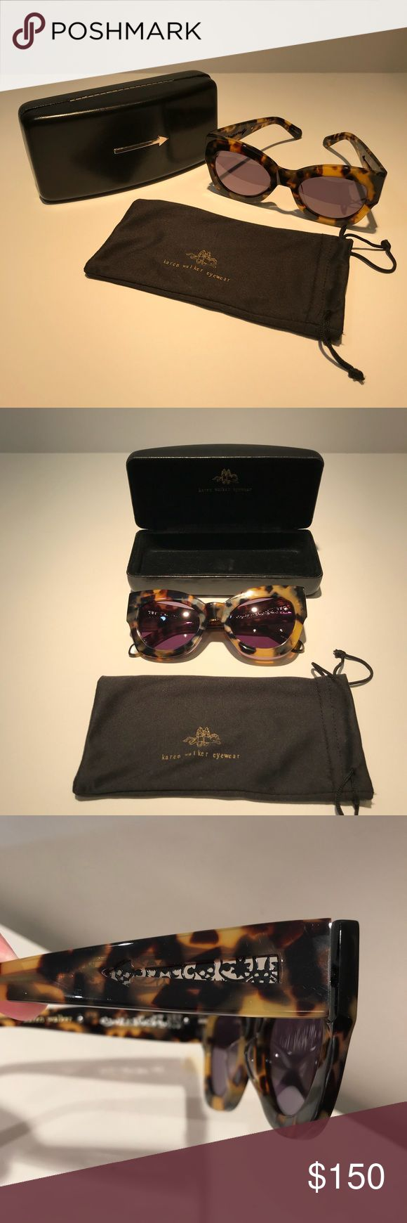 KAREN WALKER Northern Lights Cat Eye Sunglasses A beautiful pair of Karen Walker cat-eye sunglasses in tortoise shell. Features arrow detail at temples with embedded metal signature design for a unique effect. Excellent used condition with original leather case and and soft sided cleaning bag. Smoke free home. (CR) Karen Walker Accessories Sunglasses
