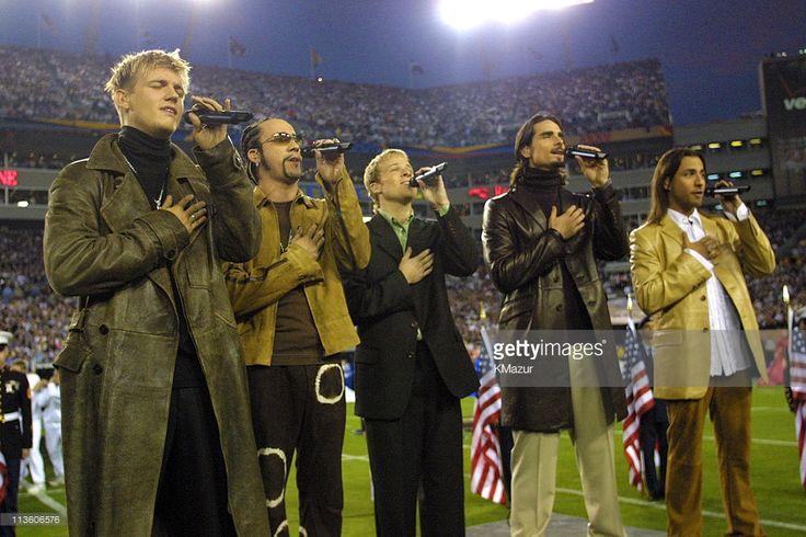 January 28, 2001, Backstreet Boys during Super Bowl XXXV - Pregame Performance at Raymond James Stadium in Tampa, Florida, United States.