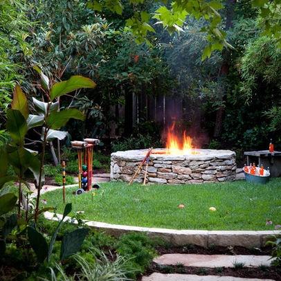 circular grassy area near firepit