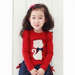 $6.16 Korean Fashionable Style Scoop Neck Kitten Pattern Design T-Shirt For Kids