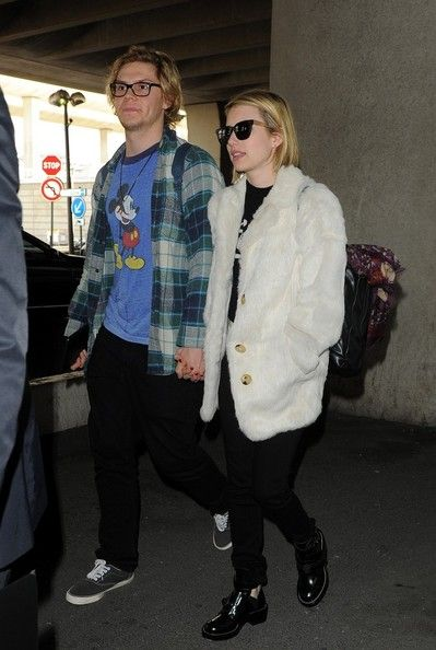 Evan Peters - Emma Roberts and Evan Peters at the Airport