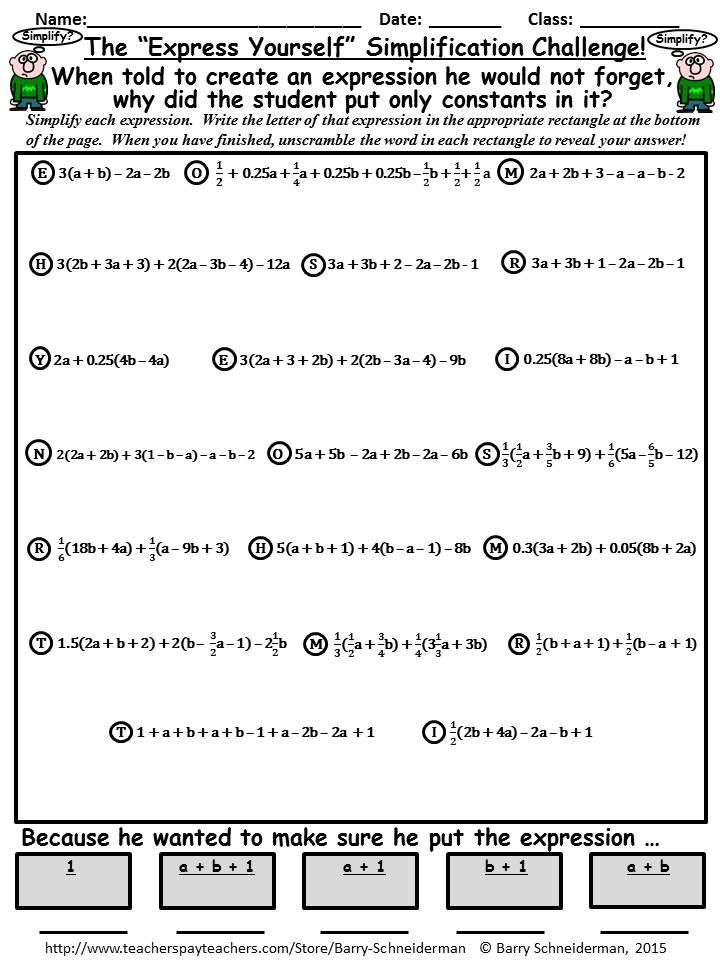 "FREE ""Express Yourself"" puzzle which challenges students to simplify 20 different expressions using the Distributive Property and by combining like terms.  Contains fractions and decimals in the expressions.  Available along with other products on writing, evaluating and simplifying expressions on TeachersPayTeachers."