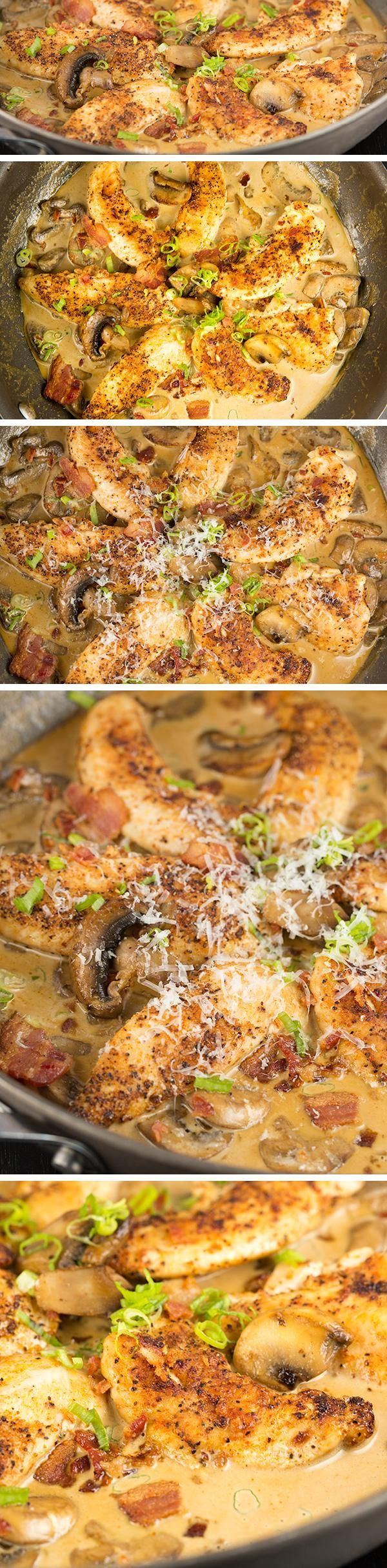 ONE SKILLET CHICKEN BACON and MUSHROOMS in PARMESAN CREAM SAUCE is loaded with flavor. It's ready in under 30 minutes making it an easy go-to recipe. Say hello to your new favorite skillet chicken dinner! (Keto / low carb friendly)