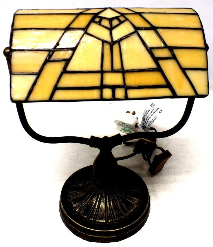 Tiffany Stained Glass Style Bankers Desk Lamp Cream With Metal Base - d40
