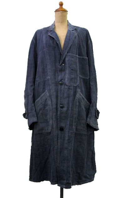 ~ 1940's French | Dark indigo | Vintage antique duster coat | Workwear