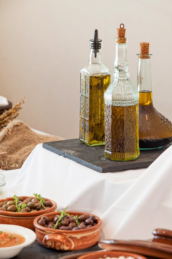 At the Galaxy we only use our own, organic extra virgin Olive Oil that we have been producing for centuries in our own family farms outside Heraklion - www.galaxy-hotel.com
