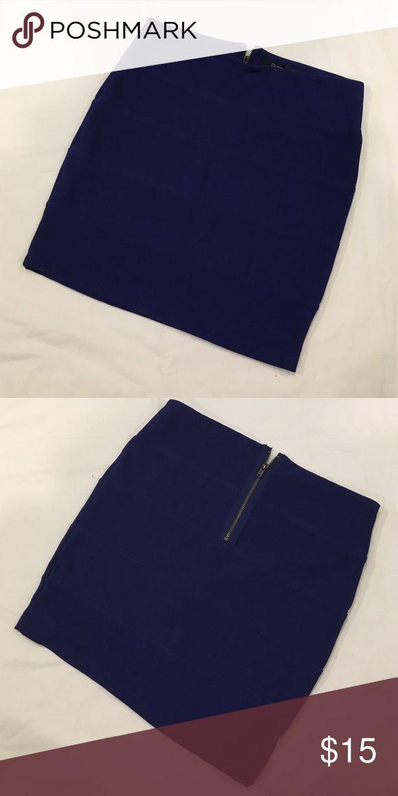 """Body con bandage mini skirt Forever 21 bandage mini skirt. Cobalt blue with exposed back zipper. Approximately 15 1/2"""" Long. Forever 21 Skirts Mini"""