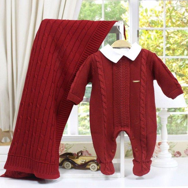 Saída de Maternidade Completa Canelado com Trança Vermelho