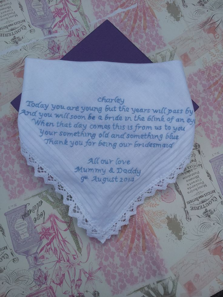 Hand embroidered Bridesmaid handkerchief by Beautiful Unique