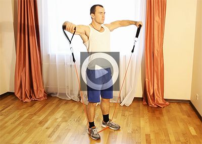 Упражнения с эспандером для плеч