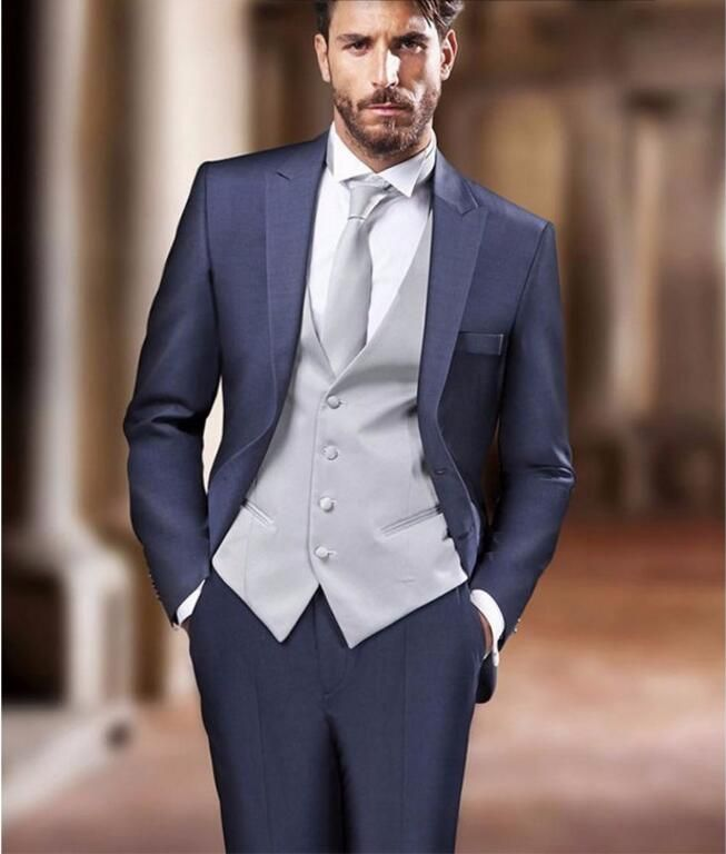The new Style men suits  Navy Blue Groom  suits Tuxedos  fashion Men Wedding Prom Dinner Suits Best Man Suit (jacket+vest+pants)