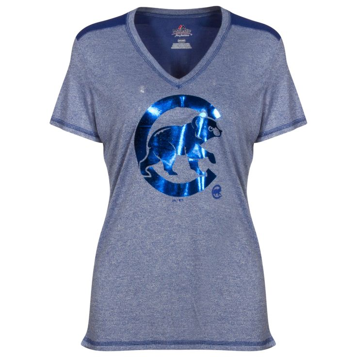 Chicago Cubs Women's Heather Blue Reflective Crawl Bear Logo Mock Twist Tee by Majestic #Chicago #Cubs #ChicagoCubs