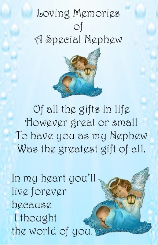 Baby Boy Male Bereavement Grave Card My Baby Nephew Memorial