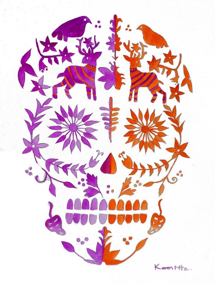 "Karen Martinez Loeza • ""Calavera dia de muertos"" • Aquarelle sur papier • KAZoART  #art #artcontemporain #contemporaryart #oeuvre #galeriedart #artgallery #noel #noel2017 #cadeaux #artist #abordable #idées #crane #mexique #mexico"