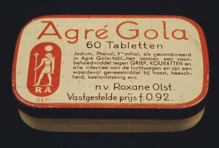 """Klein rechthoekig blik met vast deksel, crèmekleurig met bruin en oranje, """"Agré Gola"""""""