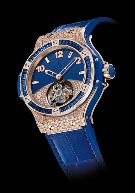 Hublot Watch  Big Bang Tutti Frutti Tourbillon Dark Blue Pavé made of Red Gold - Diamonds - Blue Sapphires - Alligator Strap for Men and Women - Collection Big Bang Reference : 345.PL.5190.LR.0901