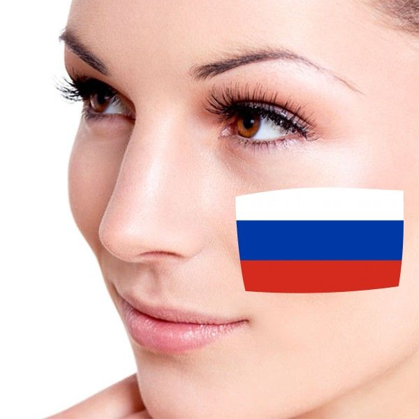 Look! My DIY : Flag of Russia facial tattoo , free shipping 2016 | diythinker.com