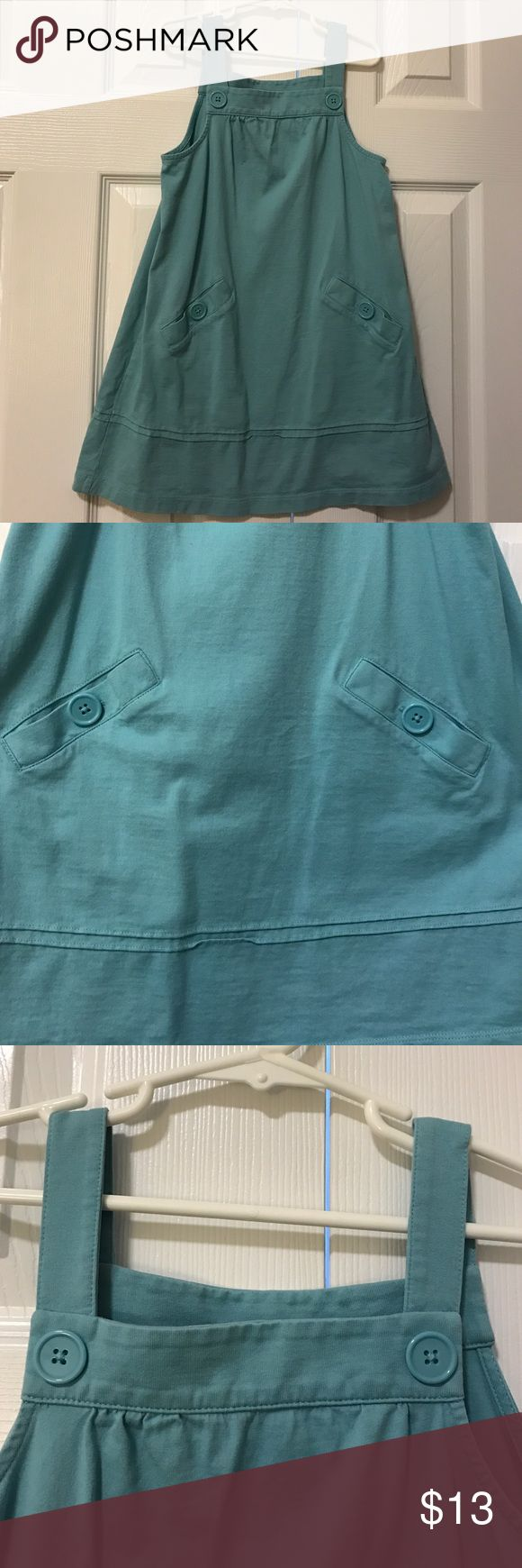 Hanna Andersson light blue jumper with pockets Size 110 is a 5t. Light blue jumper with button closure front pocket detail can be worn alone or with a shirt underneath Hanna Andersson Dresses Casual