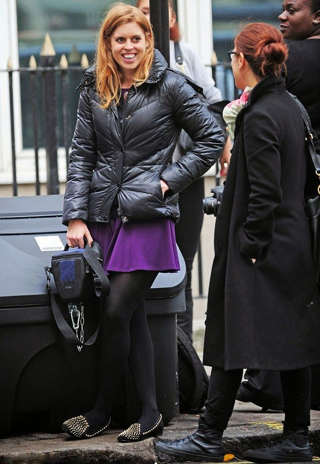 Princess Beatrice, bracing herself for the autumn weather. She donned a  black quilted jacket