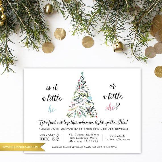 Christmas Gender Reveal - Christmas Lights Baby Shower - Printable or Printed