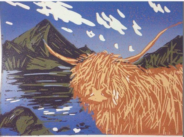 Highland Cow: original linoprint limited edition