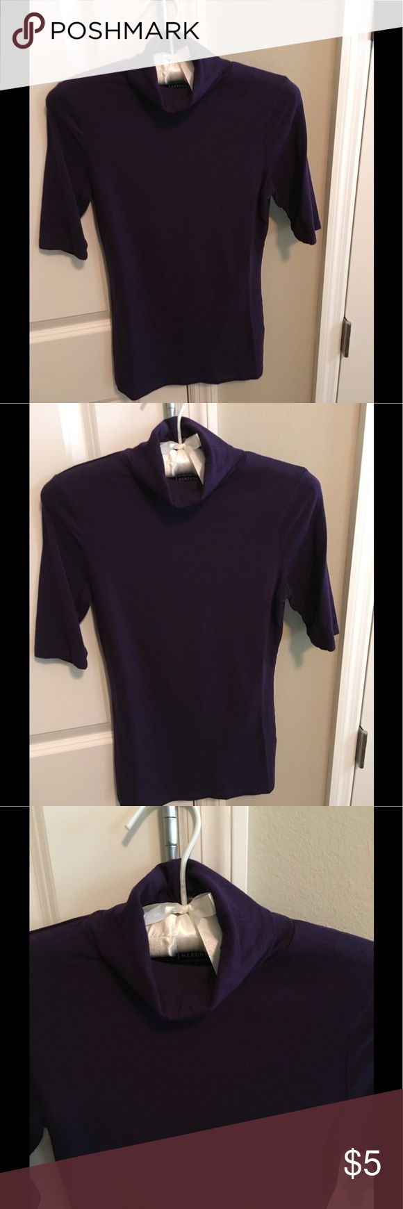 Merona Purple Short Sleeve Top Pretty purple short sleeve turtleneck cotton.spandex very soft size S other colors available in my closet great time to bundle😎 Merona Tops