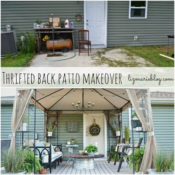 Back Patio makeover using lots of thrifted items- You do not have to spend a lot of money to make your back patio beautiful!