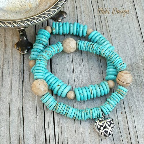 Stone Bracelet with Jade & Turquoise Natural Stones & Silver Plated Bracelet - Chiki Custom made unique jewelry by Chiki Design
