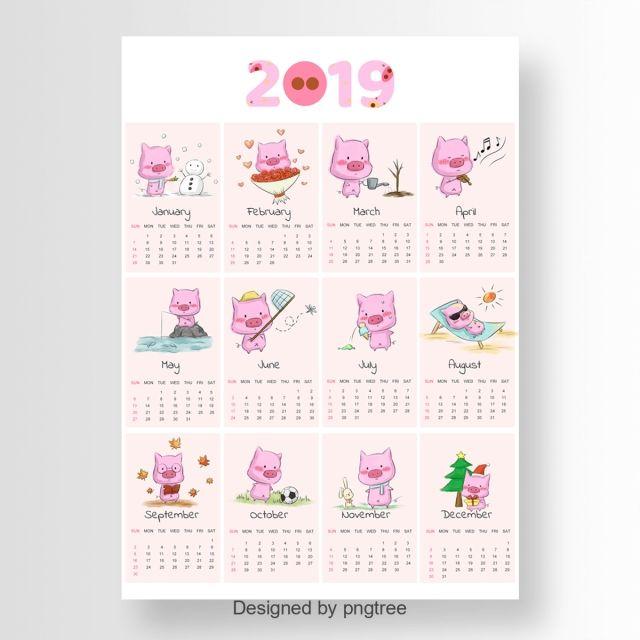 Cartoon 2019 Calendar With Cute Pig | ปฏิทิน | Creative
