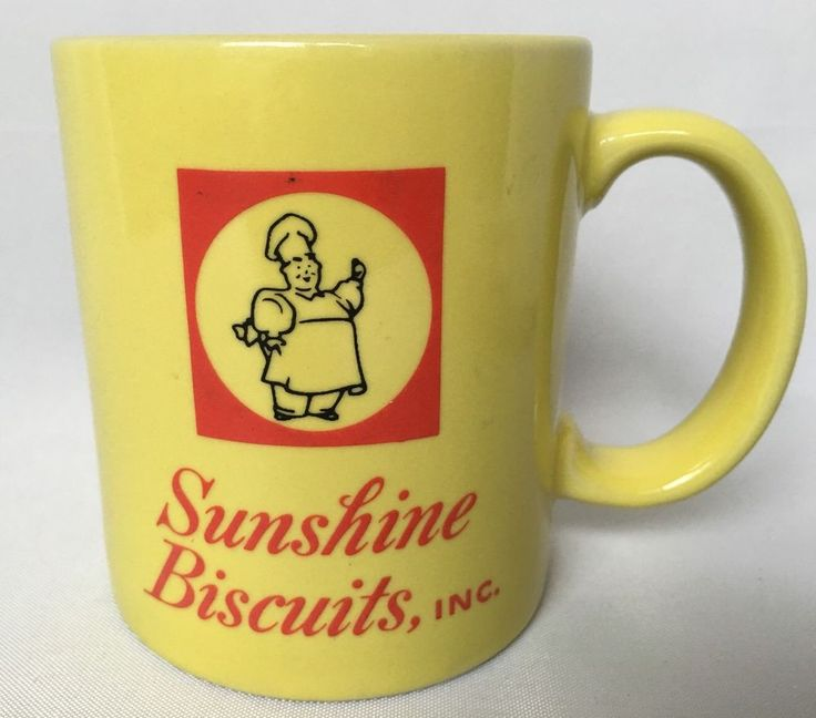 Sunshine Biscuits Advertising Mug Yellow Coffee Cup Baker Man Logo Chef Vintage #SunshineBiscuitsInc #Cup