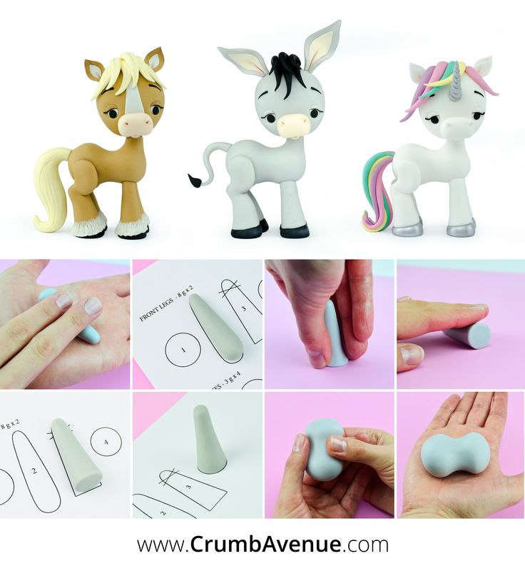 Horse / Unicorn / Donkey PDF Cake Topper Tutorial with TEMPLATES - You can Use these templates to make any horse-like animal :) / cute, fondant, figurine, standing