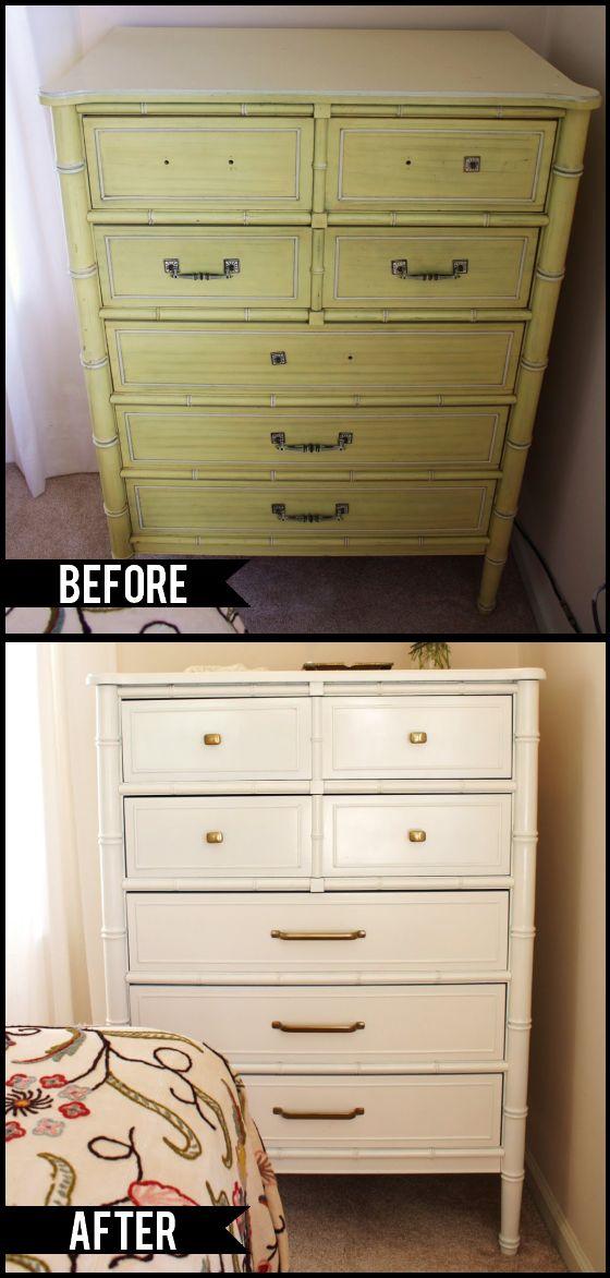 Faux bamboo dresser DIY remodel