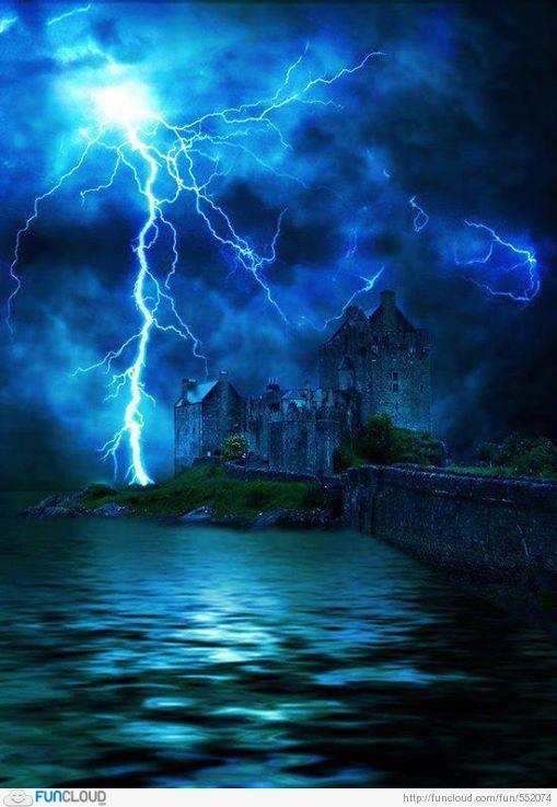 Extreme lightning over Eilean Donan Castle, the Highlands, Scotland
