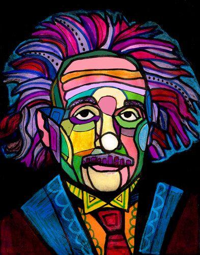 Albert Einstein Art Portrait  Art Print Poster by Heather Galler Abstract  - Heather Galler