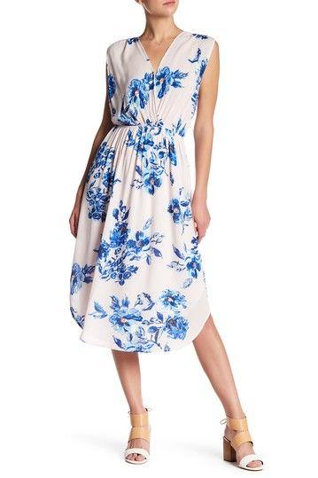 Image of Charles Henry Sleeveless Floral Print Dress