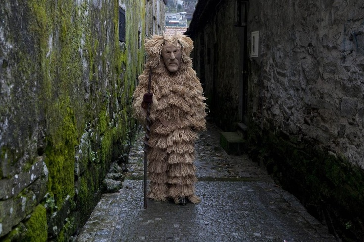 "The origins of the traditional masquerades in Gallaecia are lost in the mists of the Pagan past. Since time immemorial people recreate every year these traditional Masquerades with all their symbology and specific Characters. Picture of the ""Careto"" character from Lazarim, Northern Portugal."