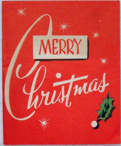 50s Mid Century Modern Graphics-Vintage Christmas Greeting Card