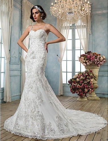 Plus Size Wedding Dress Trumpet Mermaid Chapel Train Tulle Spaghetti Straps With Beading Appliques Easebuy! Free Measurement!