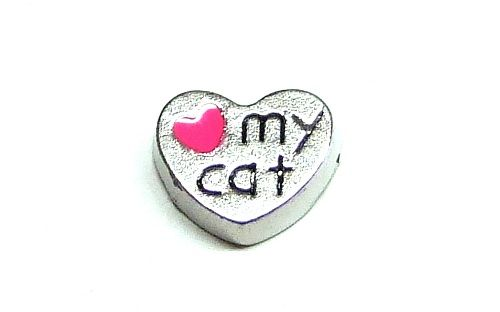 """Love my cat"" szív emlékőr charm"