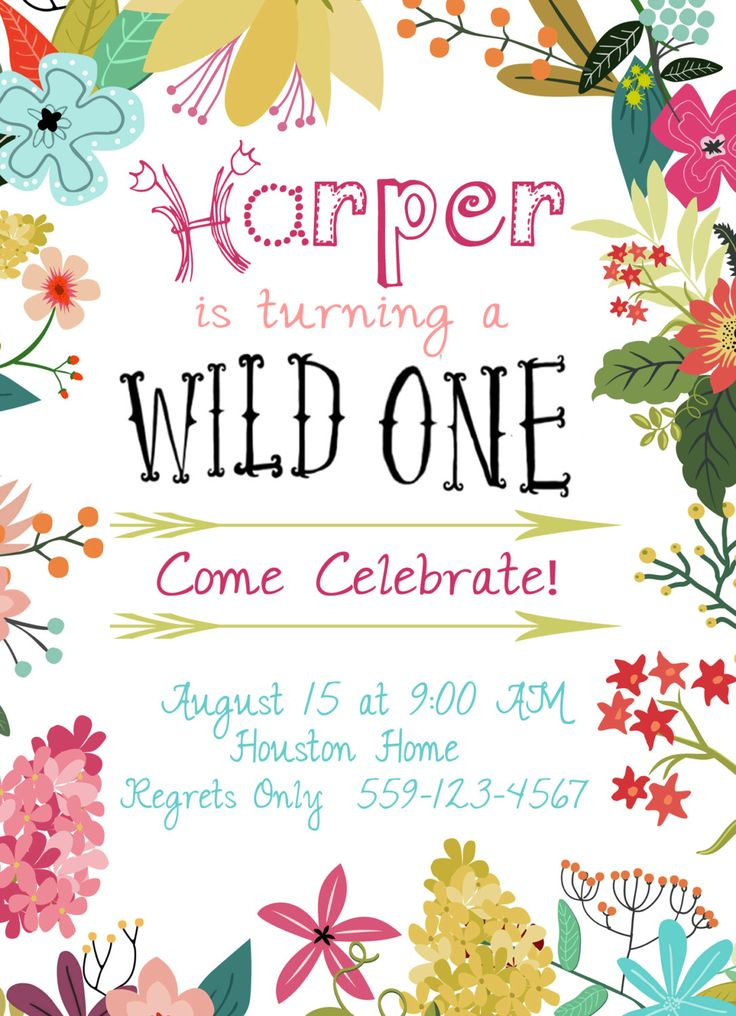 5 x 7 Digital File Wild One Floral Birthday Invite, First Birthday, Boho, Arrows by LoudandClair on Etsy https://www.etsy.com/listing/238730211/5-x-7-digital-file-wild-one-floral