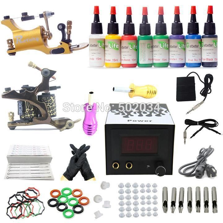 USA Dispatch complete Tattoo starter Kit 2 liner&shader Machine Guns 8 Inks colors Grip Needle Power Set Equipment K003 Freeship #Affiliate