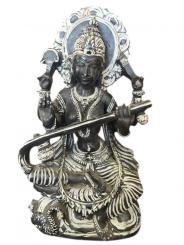 Goddess Saraswati Stone Statue Hand Carved Hindu Religious Art Sculpture