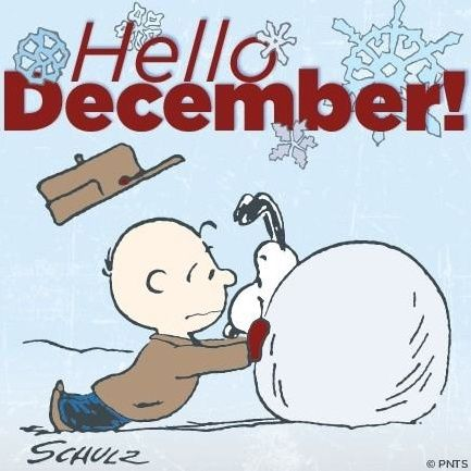 Hello December quotes quote snow months charlie brown snoopy december