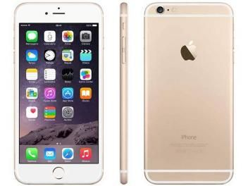 "iPhone 6 Plus Apple 16GB 4G iOS 8 Tela 5.5"" - Câm. 8MP Proc. A8 Touch ID Wi-Fi GPS NFC Dourado"